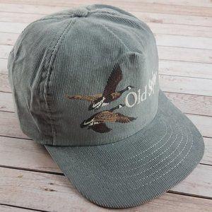 VTG 80s Old Style Beer Geese Corduroy Snapback Hat